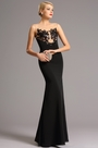 Black Sheer Neck Applique Long Prom Evening Dress (00161000)