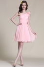 Floral One Shoulder Pink Bridesmaid Dress Party Dress (07151901)