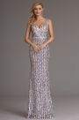 Stylish Sequin Plunging V Neck Formal Dress Evening Gown (X00161744)