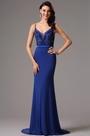 Blue Floral Bodice V neck Prom Evening Dress (02161605)