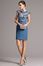 eDressit Lace Illusion Applique Neck Blue Short Cocktail Dress (26161605)