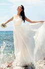 Beaded Capped Sleeves Sweetheart Neck Bridal Dress Wedding Gown (01152107)