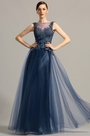 Sleeveless Open Back Navy Blue Formal Dress Evening Gown (02154305)