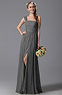 One Shoulder Slit Grey Bridesmaid Dress Evening Dress (07156908)