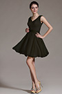 V Cut Black Cocktail Dress Party Dress (07156400)