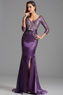 Elegant Long Lace Sleeves High Slit Purple Formal Gown (X26152506-1)