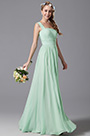 One Shoulder Slit Mint Bridesmaid Dress Evening Dress (07156904)
