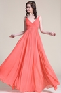 Sleeveless V Neck Coral Bridesmaid Dress Evening Dress (07151657)