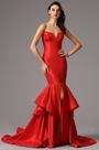Strapless Fitted V Neck Red Mermaid Prom Gown (02161902)