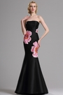 eDressit Floral Embroidery Strapless Black Prom Dress (00163100)