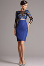 Long Sleeves Embroidered Blue Short Dress (26161105)