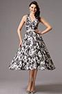 Halter V Neck Printed Tea Length Dress (04161200)