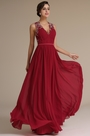 Plunging Neck Pleated Bodice Red Evening Dress Formal Gown (02161517)