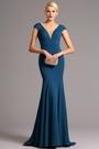 eDressit Capped Sleeves Plunging Neckline Blue Formal Dress (00161205)