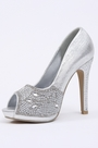 Silver Crystal Peep Toe High Heels (09150226)