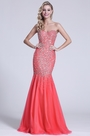 Strapless Sweetheart Beaded Coral Prom Gown (C36151157)