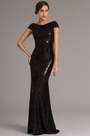 Capped Sleeves Black Sequin Formal Evening Dress (X07160300-1)