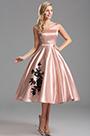 Off Shoulder V Neck Pink Tea Length Cocktail Dress (X04161146)