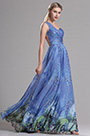 Blue One Shoulder Sweerheart Neckline Printed Prom Evening Dress (X00143705)