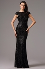 Sequin Black Formal Dress Bridesmaid Dress with Cowl Back (07160300)