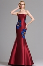 eDressit Floral Embroidery Strapless Burgundy Evening Gown (00163117)