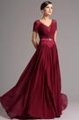 Short Lace Sleeves V Neck Burgundy Mother of the Bride Dress (26160317)