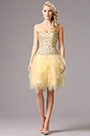 Strapless Beaded Bodice Beige Homecoming Dress Party Dress (35160114)