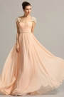 Cap Sleeves Sweetheart Peach Formal Dress Evening Dress (00154101)