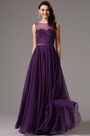 Purple Sleeveless Illusion Beaded Prom Evening Dress (02161706)