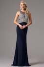 Navy Blue Beaded Prom Dress Evening Gown (36161105)