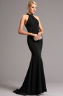Graceful Beaded Halter Black Formal Dress Evening Gown (00161300)