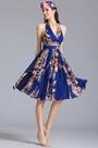 Halter Neck Short Printed Dress Summer Floral Dress (07154868)
