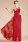 Red One Shoulder A-line Skirt Evening Dress(C36140202)