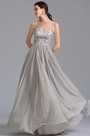Elegant Grey Embroidered Bodice Formal Dress Evening Gown (00153808)