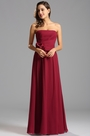Strapless Ruched Burgundy Formal Dress Bridesmaid Dress (W26121017)