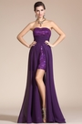 Purple Strapless Beadings Evening Party Gown (C36141206)