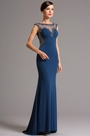 Sleeveless Blue Formal Gown with Beaded Illusion Back (36161005)