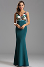Plunging Neck Floral Sequin Bodice Formal Gown Long Dress (X00161705-1)