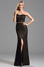 Overlace High Slit Coffee Bridesmaid Dress Formal Dress (X07151220-2)