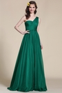 One Shoulder Dark Green Empire Waist Evening Dress (07151304)