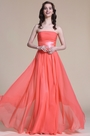 Strapless Ruched Bodice Coral Bridesmaid Dress (07151457)
