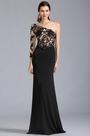 Negro Vestido Formal de Noche Solo Hombro en Encaje (00154200)