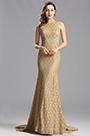 Sleeveless Beige Lace Long Evening Dress Formal Gown (X00155214)