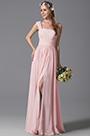 One Shoulder Slit Pink Bridesmaid Dress Evening Dress (07156901)