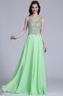 Elegant Sleeveless Beaded Mint Evening Dress (C36151604)