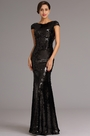 Stylish Cowl Back Black Sequin Formal Prom Dress Evening Dress (X07160300)