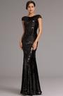 Stylish Cowl Back Black Sequin Formal Prom Dress Evening Dress (X07160300)