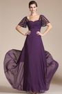 Purple Short Sleeves Empire Mother of the Bride Dress(C36141306) (C36141306)