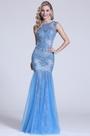 Gorgeous Sleeveless Beaded Blue Prom Dress (C36150405)