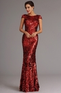 Stunning Capped Sleeves Burgundy Sequin Formal Dress Evening Dress (X07160317)